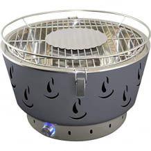 Kompakter Grill für Terrasse oder Balkon, Batteriebetriebenem Belüfter und Fettauffangschale