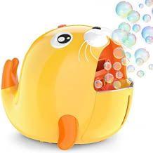 Kinderfreundliche Seifenblasenmaschine in Seehund-Optik. Inkl. Kontrolle der Blasenmenge.
