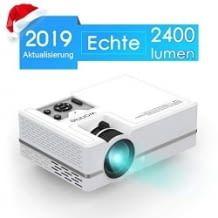 Neue Version 2019: 2400 Lumen, Video Projektor mit 1080P Ful lHD Unterstützung, viele Schnittstellen