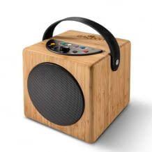 Tragbarer Kinder-Lautsprecher aus Holz. Inkl. Bluetooth, MP3-Player, USB Port und integrierter Aufnahmefunktion.