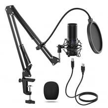 Plug and Play Mikrofon für professionelle Soundaufnahmen. Mit langlebigem Mikrofonarm.
