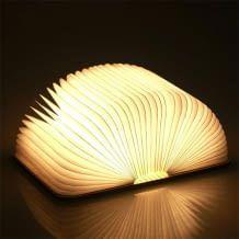 Portable und wiederaufladbare Buch-Lampe aus umweltfreundlichem Ahornholz. Licht geht an, wenn das Buch aufgeklappt wird.