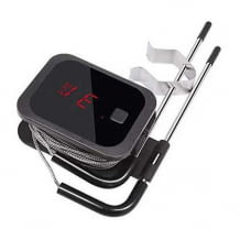 Komfort-Grillthermometer mit Bluetooth zur App-Bediendung, 2 Sonden und Display am Gerät.