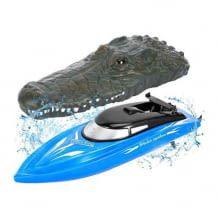 2-in-1 Wasserspielzeug kann als RC Boot benutzt werden oder als ferngesteuerter Krokodilkopf. Mit einer Geschwindigkeit von bis zu 10 km/h.