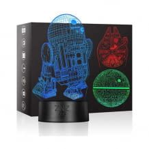 3D Star Wars lamp with 3 patterns and 16 color changes. Ideal as a night light. Rechargeable via USB.