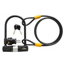Fahrradschloss mit 14mm Bügel und 1,8m langem Kabel. Mit wetterresistenter PVC-Abdeckung. Inklusive Halterung.