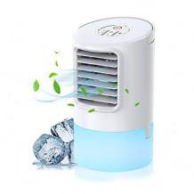 Mini-Luftkühler mit drei Geschwindigkeitsstufen, Timer, LED-Nachtlicht und Luftbefeuchtungsfunktion