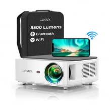 Leistungsstarker Mini-Beamer mit WLAN und Bluetooth. Ideal für den Betrieb mit Kopfhörer oder Bluetooth-Soundbar.