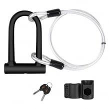 2-in-1 Fahrradschloss mit Bügelschloss aus gehärtetem Stahl und Stahl-Loop-Kabel für mehr Flexibilität.