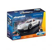 Ferngesteuerter Porsche Mission E mit abnehmbarem Dach und Ladesäule. Mit Spielfiguren-Set.