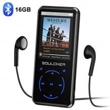 Bluetooth MP3 Player mit 16 GB Speicherplatz, Display, Sleep Timer und FM Empfang. Inkl. Kopfhörer und Sportband.
