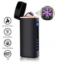 Per USB wiederaufladbares Feuerzeug mit Ladekontrolllampe. Elektroheizung mit Wolframdraht erzeugt einen Lichtbogen. Mit berührungsempfindlicher Zündung.