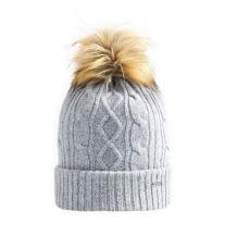 Intelligente beheizbare Mütze aus 30% Kaschmirwolle und 70 %Wolle: Kabellos und wiederaufladbar, Kunstpelz-Bommel
