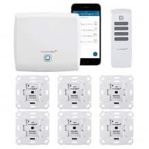 Optimale Nachrüst-Lösung: mit Fernbedienung und App steuerbar. Inkl. Zentrale, 6 Rolladenaktoren, 1 Fernbedienung.