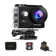 4K Actioncam mit LDC-Display, Fernbedienung und 2 Akkus, bis zu 40 Meter wasserdicht