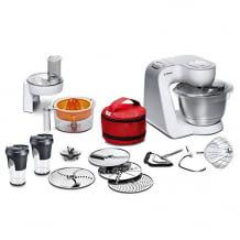 Leistungsstarke 1000W Küchenmaschine mit großer Edelstahl-Schüssel und umfangreichem Zubehör. Inkl. Durchlaufschnitzler.