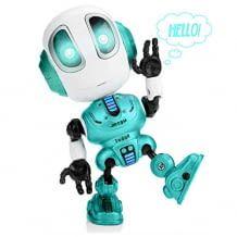 Mini-Roboter, der mit seinen Nutzen spricht, seine Augen blinken beim Einschalten und zusätzlich startet er Musik-Soundeffekte