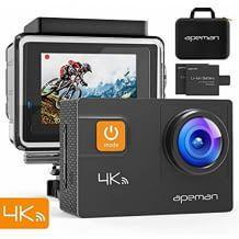 4K Ultra HD Kamera: wasserdicht, mit 170° Weitwinkel. App verwandelt Smartphone in Video-Fernbedienung für die Kamera.