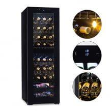 Stilvoller Weinkühlschrank mit Panoramafenster und zwei Kühlzonen für die optimale Lagerung von 39 Weinflaschen.