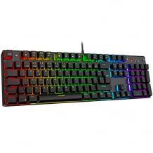 Mechanische Gaming Tastatur mit roten Schaltern und Hintergrundbeleuchtung mit verschiedenen Lichteffekten. Inkl. Spiel- und Büromodus.