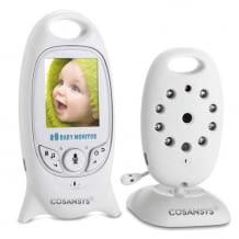 Babyphone mit Farb-LCD-Monitor, Nachtsicht, Temperatursensor, 8 Schlafliedern und Gegensprechfunktion.