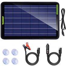 Kleines, tragbares 10 Watt Solarpanel für 12V Batterien. Ideal um die Autobatterie mit Solarenergie aufzuladen.