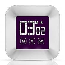 Küchentimer mit Touchscreen und großem LCD-Display. Mit Memory-Funktion, magnetischer Halterung und lautem Alarm.
