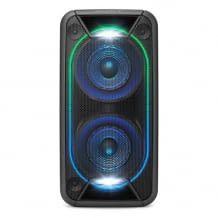 Leistungsstarkes One Box Soundsystem mit extra Bass, Lichteffekten und bis zu 16 Stunden Akkulaufzeit. Mit Unendlichkeits-Spiegel.