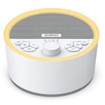 Per USB wiederaufladbare Einschlafhilfe mit mehrfarbigem Nachtlicht. Verfügt über 29 beruhigende Geräusche.