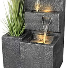 Inklusive Wasserpumpe, warm-weißer LED Beleuchtung und Pflanzschale