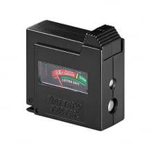 Für AAA, AA, C, D, 9 V, N- und Knopfzellen  Im Display des Testers wird auf einer Skala der Batteriestatus angezeigt.