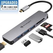 7-in-1 Dongle mit 3 USB 3.0-Anschlüssen, 4k HDMI-Ausgang und SD-Kartenleser. Kompatibel für Typ-C-Geräte.