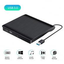 Vielseitiges externes CD/DVD Laufwerk mit USB 3.0 Schnittstelle und mehreren Funktionen.