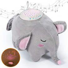 Plüsch-Elefant mit 15 beruhigenden Schlafliedern und Geräuschen. Mit 3-farbigem Sternenprojektor.