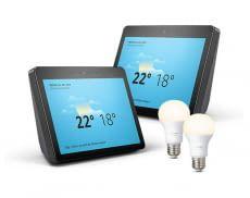 Amazon Bundle: Zwei Echo Show und zwei Philips Hue White E27 Leuchtmittel