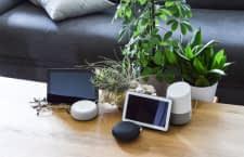 Links sind hier zwei Alexa Geräte zu sehen, rechts eine Auswahl an Google Assistant Devices
